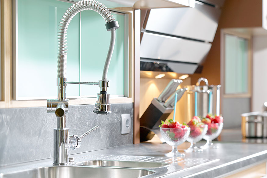 modern kitchen sink installed by a plumber in Fremont, California