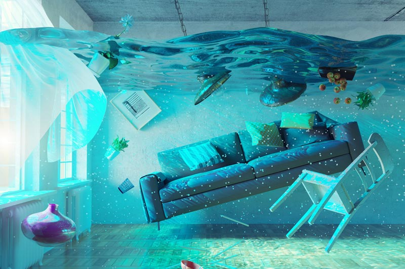furniture floating in the water